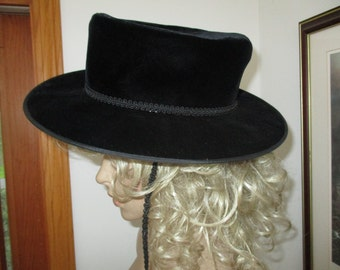 Womens  Hat &  Original Hat Box~ Black Velvet - Vintage Adolfo  Saks 5th Ave  Hat and Saks 5th Ave  Hat Box
