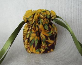 Fabric Bag for Jewelry - Mini Size - Jewelry Bag - Sunflower Tote - MAMA'S GARDEN