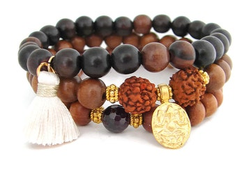Ganesh Bracelet Stack with Garnet Rudraksha and Tassel ,Yoga Jewelry, Ganesh Charm, Rudraksha, Ganesh Bracelet, Boho Stack, Stretch bracelet