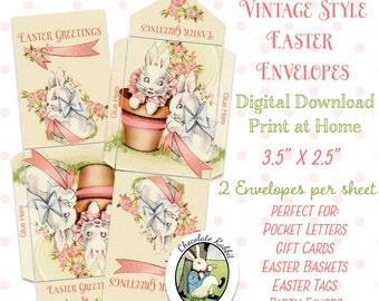 Easter Bunny Envelopes Digital Download Printable Vintage Style Pocket Pals Letters Scrapbook Party Favors Gift Tags Image Sheet
