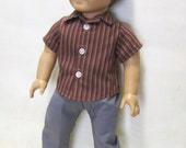 """Casual Button Down Stripe Shirt with Gray Slacks for 18"""" Boy Doll"""