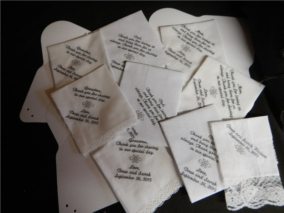 9 Wedding handkerchiefs - FREE SHIPPING - Save the date - Custom Machine embroidered with Boxes