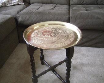 English Table Oak Barley Twist Folding Benares Table - Brass Tray Top