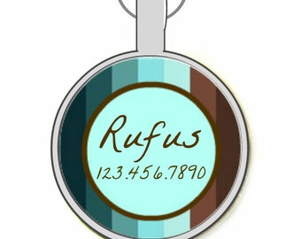 Blue and Brown Stripes Silver Custom Personalized Dog ID Pet Tag Custom Pet Tag You Choose Tag Size & Colors