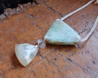 Chrysoprase / Quartz / Prehnite necklace - unique natural stone jewelry - earthy natural jewellery handmade in Australia - adjustable length