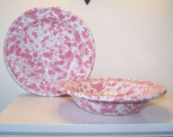 Bennington Potters, 2 Soup Bowls, Morning Glory Pink, 1961 David Gil, Pink White Agate, Vintage, Salad Bowl, Pasta Bowl