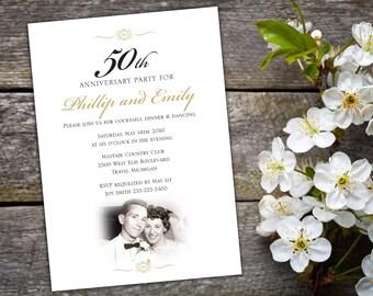 50th Wedding Anniversary Invitation, Elegant Script Black And Gold  Invitation, 50th Anniversary