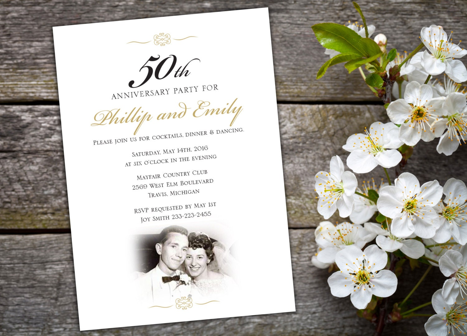 50th Wedding Invitation Templates: 50th Wedding Anniversary Invitation Elegant Script Black And