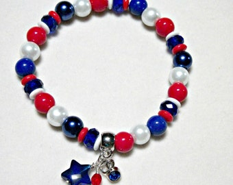 Red white and blue stretch bracelet