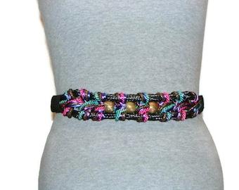 Vintage Multi Color Stretch Rope Belt Braided Belt Colored Belts For Women Braided Stretch Belt Elastic Belts For Women Vintage Belts
