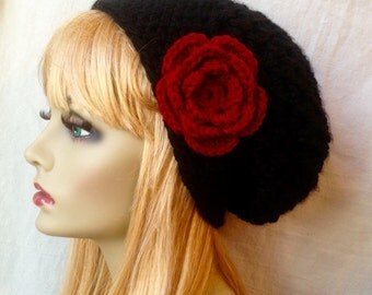 Black Slouchy Beret, Womens Hat, Chunky, Flower, Head Cover, Teens, City Hat, Birthday Gifts, Gifts for Her, JE410BESF2