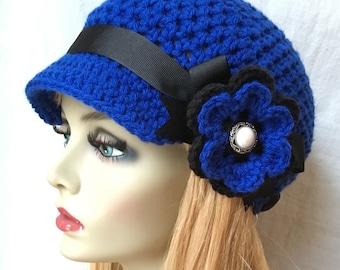 Womens Hat, Newsboy, Cobalt Blue Crochet, Black, Pearl, Flower, Ribbon, Weddings, Birthday Gifts, Photo Prop, JE270NRF22