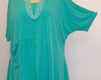 Coco and Juan Lagenlook  Womens Plus Size Top Cold Shoulder  Jade Green Traveler Knit  Angled Tunic Top One Size Bust  to 58 inches