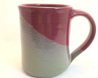 Hand Thrown Ceramic Coffee Mug -- Red Gray Handmade Pottery Clay Mug -- Stoneware Hand thrown mug