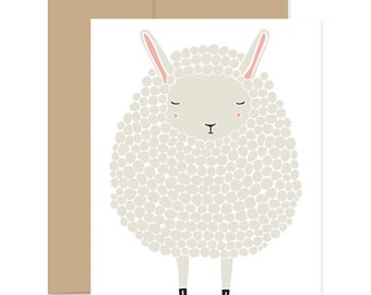 Gray Sheep Card, Baby Shower Card, Baby Sheep Card, Easter Card, Happy Mail, Gray Lamb Card, Blank Card, Thinking Of You Card
