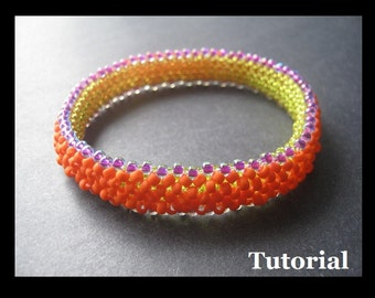 Bangle Beading Tutorial. Right Angle Weave Tubular Bracelet Instructions (Open License)