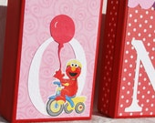 Sesame Street Birthday Block Letters . ONE . First Birthday . For Girl in Pink and Red