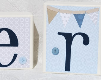 Modern Elegant Baby Personalized Blocks . in Shades of Blue Taupe and Gray with Elephant and Pennant Banner . Carter