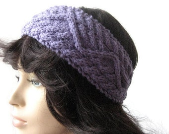 Lavender Headband, Lilac Cabled Headband, Vegan Knits, Knit Headband, Lilac Earwarmer, Women Accessories