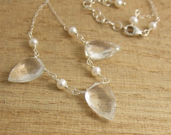 Necklace with Large Crystal Teardrops and Freshwater Pearls CDN-664