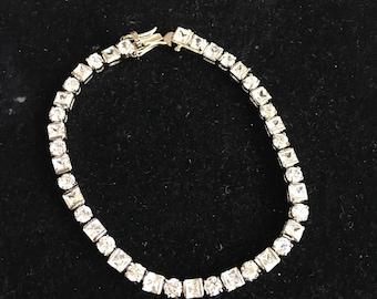 Vintage Faux Diamond Rhinestone Tennis Bracelet Wedding