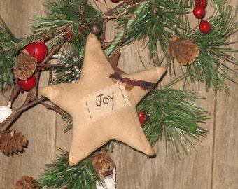 Primitive Christmas Ornament Star - Joy