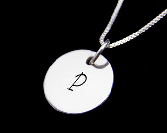 Back to School Gift, Children's Necklace, Personalized Initial Sterling Silver Necklace