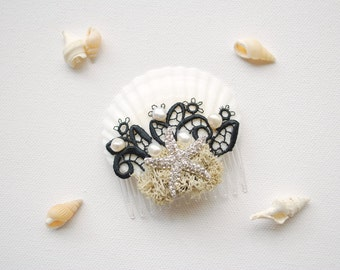 Beach Weddings White Black Bridal Sea Shells Comb, Nautical Hawaiian Mermaid Weddings Hair Accessories, Bridal Starfish Headpiece
