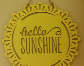 Hello Sunshine Wood Plaque  Country Home Decor Hand Painted Wood Plaque