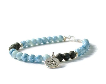 Light Blue Aromatherapy Charm Bracelet, Essential Oil Diffuser Jewelry