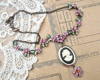 floral cameo necklace assemblage petite recycle flower