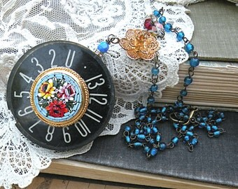 industrial romance necklace micro mosaic assemblage floral number dial repurposed romantic cottage chic steampunk