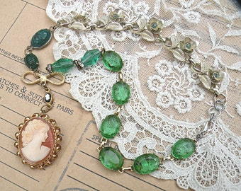 vintage cameo necklace assemblage pantone green eclectic mix found objects hreenery spring 2017 color of the year