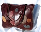 Red Leather Bag, womens leather handbag, garnet red leather shoulder bag minimalist Purse, Satchel, office bag,