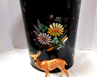 Vintage Large Metal Trash Can w/ Hand Painted Daisies, Black Chippy Shabby Chic 50s Feminine Boudoir Waste Bin Garbage, Flower Power Cottage