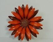 60s-70s Orange and Brown Enameled FLOWER Brooch. Flower Pin