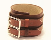SALE: Mahogany Brown Leather Cuff Bracelet Adjustable with Buckles Mens Womens