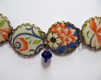 Vintage Tin Charm Bracelet in Blue and White with Orange Flowers, Sapphire Blue Glass Beads - OOAK Handmade Bracelet, Repurposed Jewlery