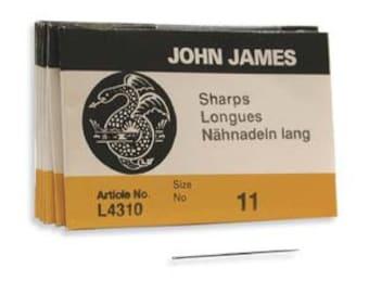 John James Sharps Needle Size 11 Beading Sewing Needle Pack of 25 needles