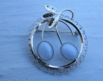 Stunning Sterling Silver Vintage CIRCLE PIN Blue Moonstones Mid Century Jewelry Delicate Design