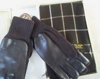 Vintage Accessories Glove and Scarf men's Set Made in Japan NOS Original Box