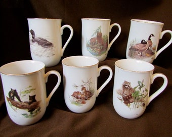 Set of 6 Vintage 1970's  Glen Loates Viletta Canada Wildlife Mugs