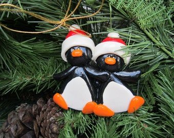 Personalized Penguin Couple Christmas Ornament/ BFF / Couple/ First Christmas