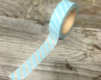 Washi Tape - 15mm - Baby Blue and White Diagonal Stripe - Deco Paper Tape No. 996