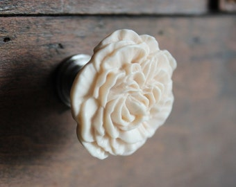 Peony Flower Drawer Knobs - Furniture Knob in Tudor Cream (RFK02-04)