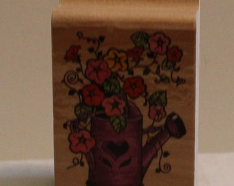 Flowering Vine in a Watering Can Rubber Stamp