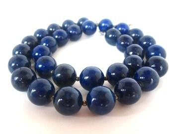 Lapis Necklace, 12mm Lapis Bead Necklace, Genuine Lapis Lazuli, Lapis Jewelry, Blue Lapis Necklace, Pyrite Beads, Lapis Pyrite Necklace