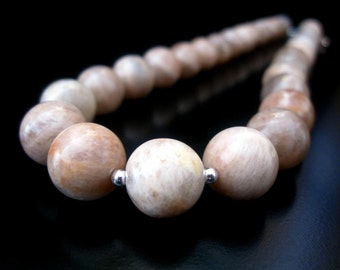 Peach Moonstone Necklace, Peach Moonstone Sterling Silver, Moonstone Necklace, Moonstone Jewelry, Peach Moonstone Jewelry, 12mm Moonstone