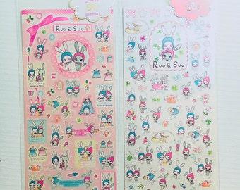 Stickers da collezione Ruu & Suu coniglietti kawaii