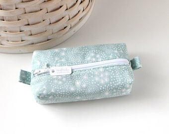 Small Boxy Pouch Pastel Blue Floral Coin Purse Blue Floral Change Purse Zipper Pouch
